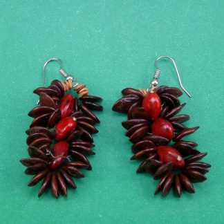 Brincos Indígenas de sementes vermelhas da Amazônia - Artesanato Indígena - Brinco