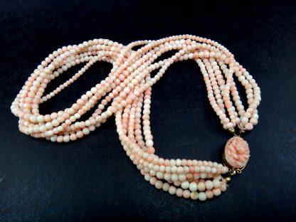 Magnífico Colar Coral Rosado 7 Voltas Fecho Ouro 18k Anos 70