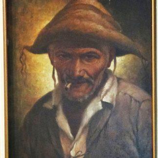 "José Quirino, quadro ""Sertanejo"", óleo s/ tela"