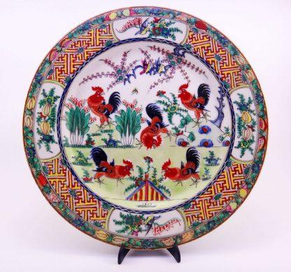 Porcelana Chinesa, Briga de Galos – Lindo Prato Antigo porcelana chinesa familiamuda.com.br 7