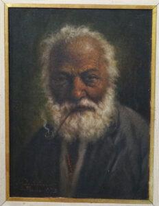 """José Quirino """"Preto Velho Com Cachimbo"""", óleo s/ tela"""