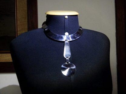 Gargantilha Barbarella metal prateado, Fashion Itália anos 70
