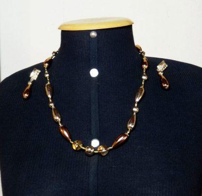 Bijoux, Cjto colar e brincos bronze e dourado, Fashion Itália anos 70