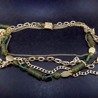 Colar 4 voltas verde e ouro, Fashion Itália anos 70