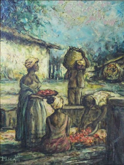 Paulo Licatti, Baianas selecionando as frutas, pintura a óleo, 1976