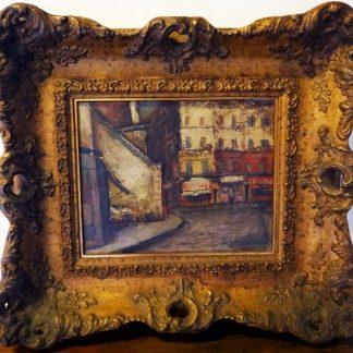 "Maurice Utrillo, ""Rues De Montmartre"" – Belíssima pintura, óleo sobre placa ""Rues De Montmartre"" - Belíssima pintura familiamuda.com.br"
