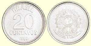 Moeda 20 centavos de Cruzado, MBC, 1986 a 1989