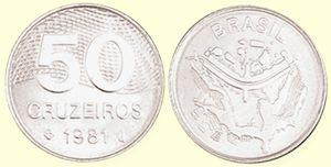 Moeda de 50 Cruzeiros, MBC-Soberba, 1980 a 1987