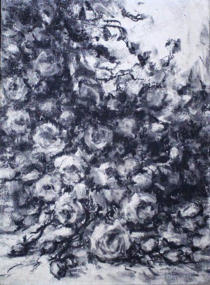 Paulo Licatti, Rosas, pintura a carvão, natureza morta