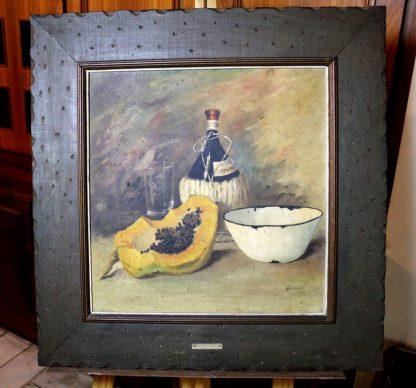 aFederighi, Mamão e vinho, natureza morta, pintura a óleo