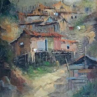 Gilberto Evaristo, Favela, óleo s/ tela