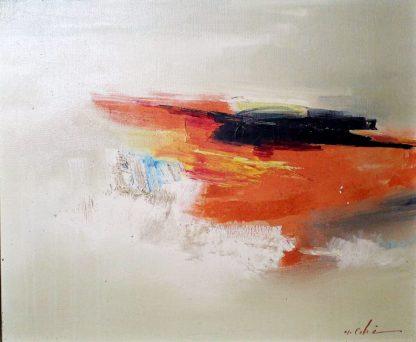 Masato Aki, Composição Abstrata, pintura a óleo