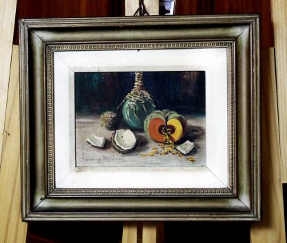 Suzana Pelsozzy, Abóbora e garrafão, natureza morta, pintura a óleo